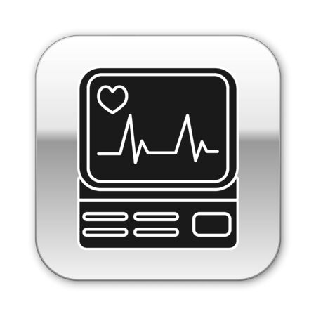 Black Computer monitor with cardiogram icon isolated on white background. Monitoring icon. ECG monitor with heart beat hand drawn. Silver square button. Vector Illustration