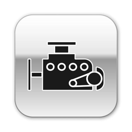 Black Car engine icon isolated on white background. Silver square button. Vector Illustration Ilustração