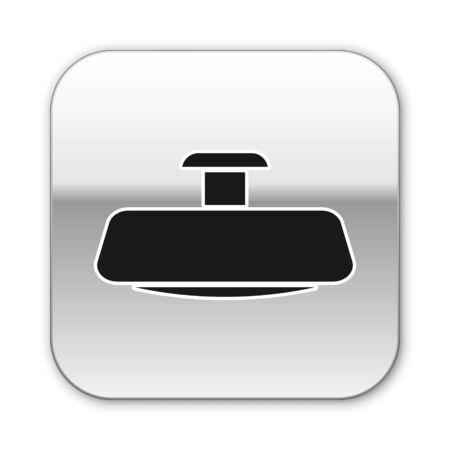 Black Car mirror icon isolated on white background. Silver square button. Vector Illustration
