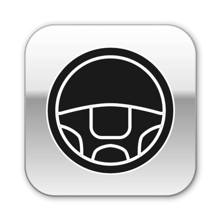 Black Steering wheel icon isolated on white background. Car wheel icon. Silver square button. Vector Illustration