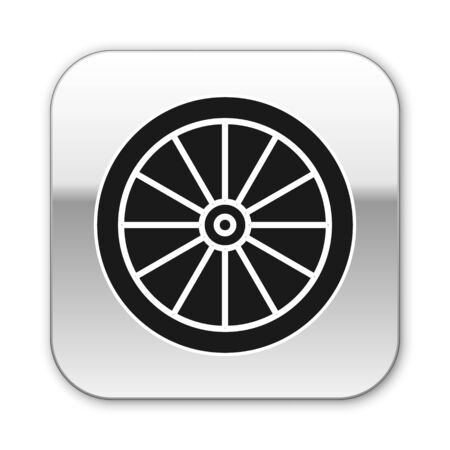 Black Car wheel icon isolated on white background. Silver square button. Vector Illustration