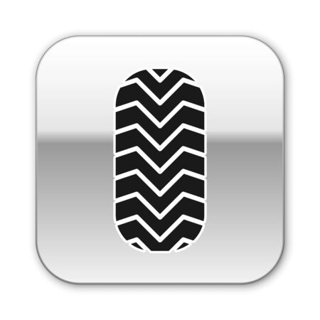 Black Car tire icon isolated on white background. Silver square button. Vector Illustration