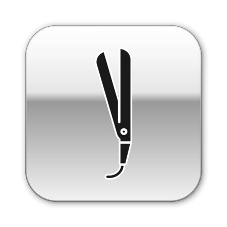 Black Curling iron for hair icon isolated on white background. Hair straightener icon. Silver square button. Vector Illustration