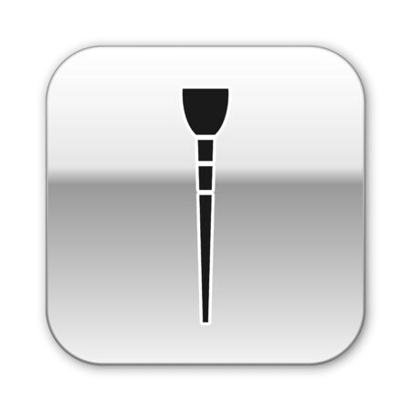 Black Makeup brush icon isolated on white background. Silver square button. Vector Illustration