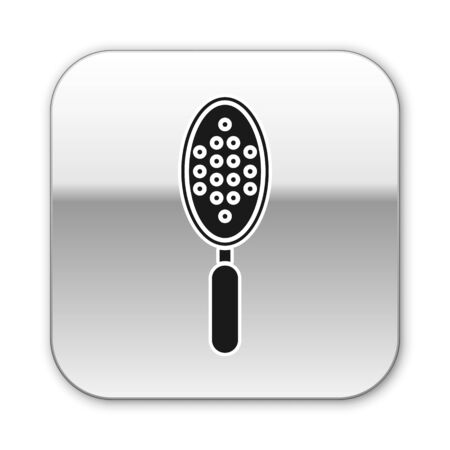 Black Hairbrush icon isolated on white background. Comb hair sign. Barber symbol. Silver square button. Vector Illustration