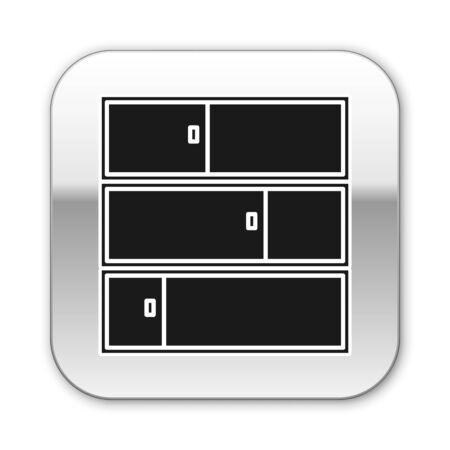 Black Shelf icon isolated on white background. Shelves sign. Silver square button. Vector Illustration