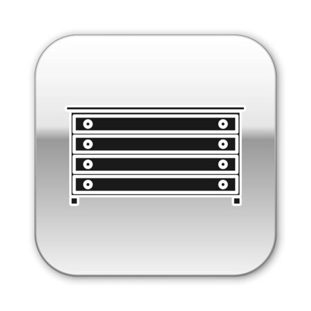 Black Chest of drawers icon isolated on white background. Silver square button. Vector Illustration Ilustração