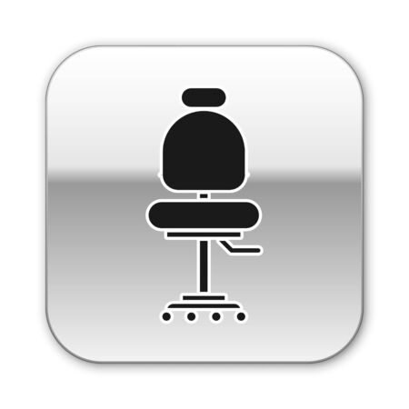 Black Office chair icon isolated on white background. Silver square button. Vector Illustration Ilustração