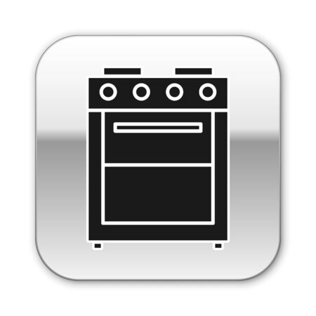 Black Oven icon isolated on white background. Stove gas oven sign. Silver square button. Vector Illustration