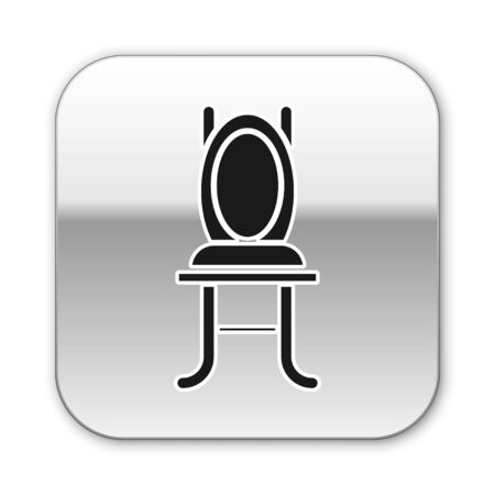 Black Chair icon isolated on white background. Silver square button. Vector Illustration