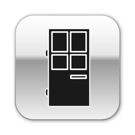 Black Closed door icon isolated on white background. Silver square button. Vector Illustration