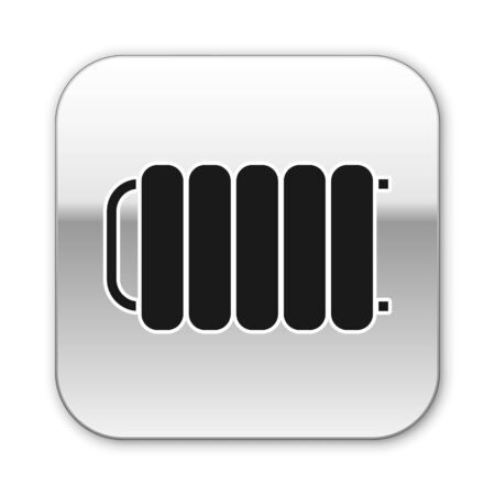 Black Heating radiator icon isolated on white background. Silver square button. Vector Illustration