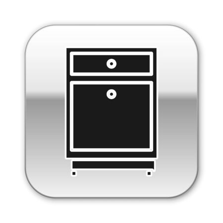 Black Furniture nightstand icon isolated on white background. Silver square button. Vector Illustration