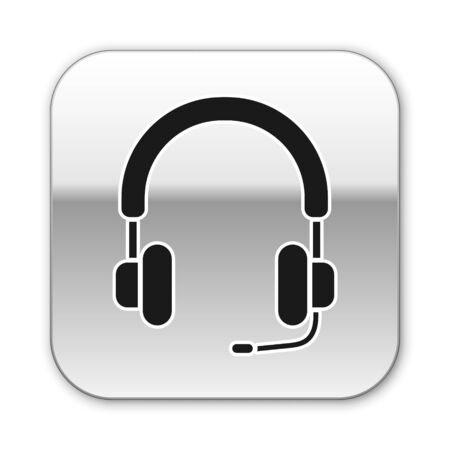 Black Headphones icon isolated on white background. Earphones. Concept for listening to music, service, communication and operator. Silver square button. Vector Illustration
