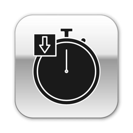 Black Stopwatch icon isolated on white background. Time timer sign. Chronometer. Silver square button. Vector Illustration