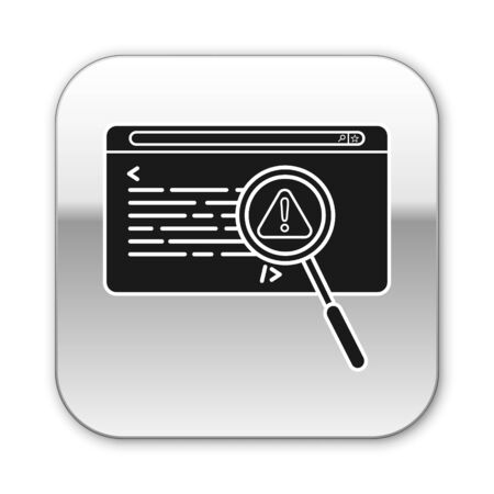 Black System bug concept icon isolated on white background. Code bug concept. Bug in the system. Bug searching. Silver square button. Vector Illustration Illustration