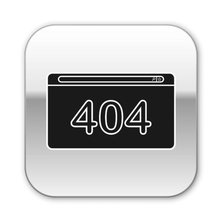 Black Page with a 404 error icon isolated on white background. Template reports that the page is not found. Silver square button. Vector Illustration