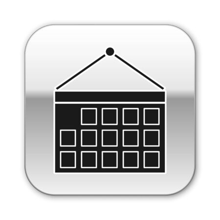 Black Calendar icon isolated on white background. Event reminder symbol. Silver square button. Vector Illustration
