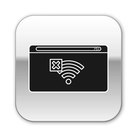 Black No Internet connection icon isolated on white background. No wireless wifi or sign for remote internet access. Silver square button. Vector Illustration