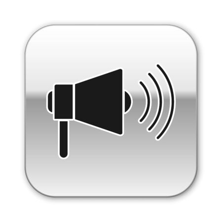 Black Megaphone icon isolated on white background. Loud speach alert concept. Bullhorn for Mouthpiece scream promotion. Silver square button. Vector Illustration Çizim