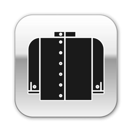 Black T-shirt icon isolated on white background. Silver square button. Vector Illustration