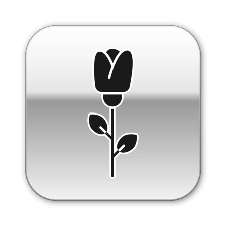 Black Flower rose icon isolated on white background. Silver square button. Vector Illustration