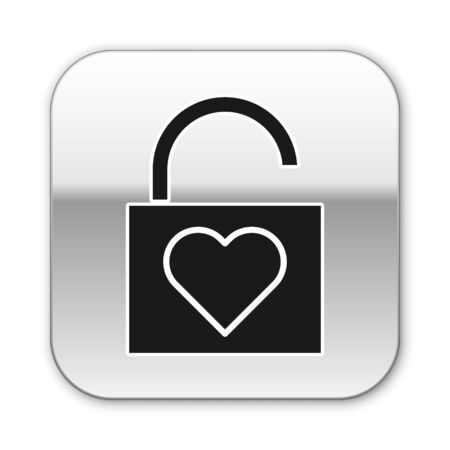 Black Lock and heart icon isolated on white background. Locked Heart. Love symbol and keyhole sign. Valentines day symbol. Silver square button. Vector Illustration
