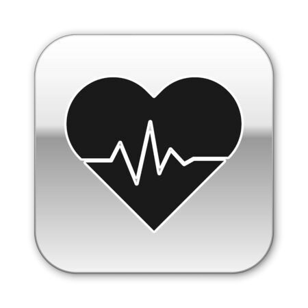 Black Heart rate icon isolated on white background. Heartbeat sign. Heart pulse icon. Cardiogram icon. Silver square button. Vector Illustration Ilustracja