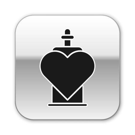 Black Bottle with love potion icon isolated on white background. Valentines day symbol. Silver square button. Vector Illustration
