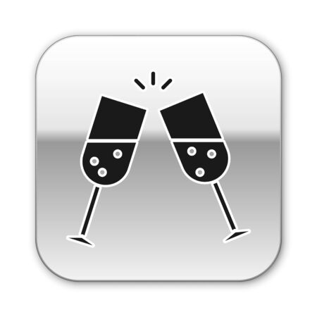 Black Glass of champagne icon isolated on white background. Silver square button. Vector Illustration