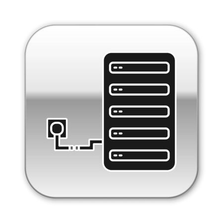Black Server icon isolated on white background. Adjusting app, service concept, setting options, maintenance, repair, fixing. Silver square button. Vector Illustration Ilustracja
