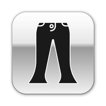 Black Pants icon isolated on white background. Silver square button. Vector Illustration