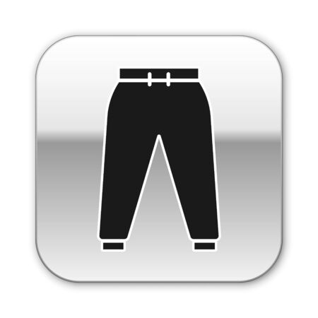 Black Sport pants icon isolated on white background. Silver square button. Vector Illustration Ilustracja
