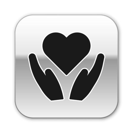 Black Heart on hand icon isolated on white background. Hand giving love symbol. Valentines day symbol. Silver square button. Vector Illustration