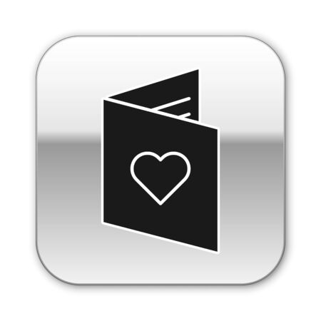 Black Valentines day flyer with heart icon isolated on white background. Celebration poster template for invitation or greeting card. Silver square button. Vector Illustration
