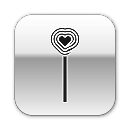 Black Lollipop icon isolated on white background. Candy sign. Food, delicious symbol. Valentines day. Love symbol. Silver square button. Vector Illustration Ilustrace