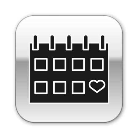 Black Calendar with heart icon isolated on white background. Valentines day. Love symbol. February 14. Silver square button. Vector Illustration