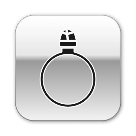 Black Diamond engagement ring icon isolated on white background. Silver square button. Vector Illustration