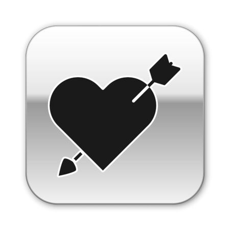 Black Amour symbol with heart and arrow icon isolated on white background. Love sign. Valentines symbol. Silver square button. Vector Illustration