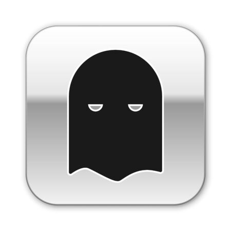 Black Executioner mask icon isolated on white background. Hangman, torturer, executor, tormentor, butcher, headsman icon. Silver square button. Vector Illustration