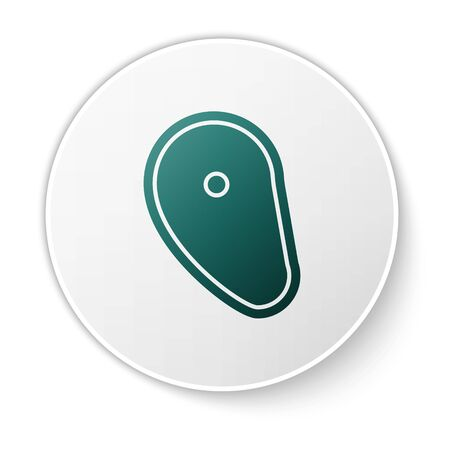 Green Steak meat icon isolated on white background. White circle button. Vector Illustration