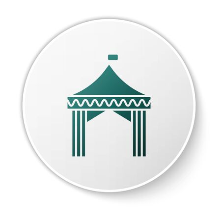 Green Camping tent icon isolated on white background. Carnival camping tent. Amusement park. White circle button. Vector Illustration