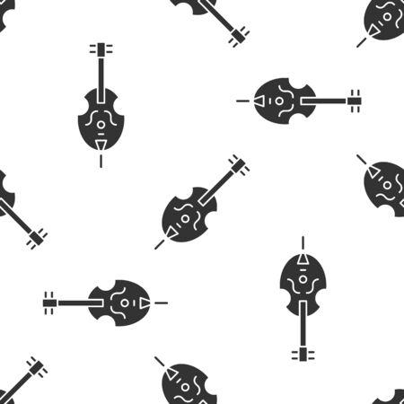 Grey Violin icon isolated seamless pattern on white background. Musical instrument.  Vector Illustration Ilustrace