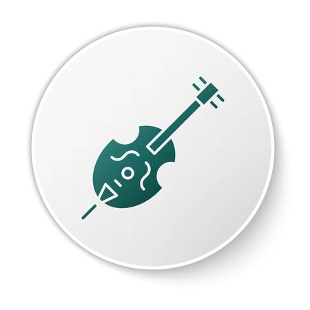 Green Violin icon isolated on white background. Musical instrument. White circle button. Vector Illustration Ilustrace