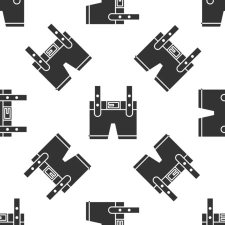 Grey Lederhosen icon isolated seamless pattern on white background. Traditional bavarian clothing. Oktoberfest outfit. Pants with suspenders. Patrick day. Vector Illustration
