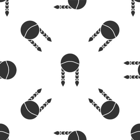 Grey Braid icon isolated seamless pattern on white background.  Vector Illustration