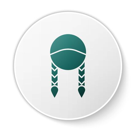 Green Braid icon isolated on white background. White circle button. Vector Illustration