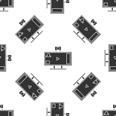 Grey Live streaming online videogame play icon isolated seamless pattern on white background. Vector Illustration Archivio Fotografico - 138419859