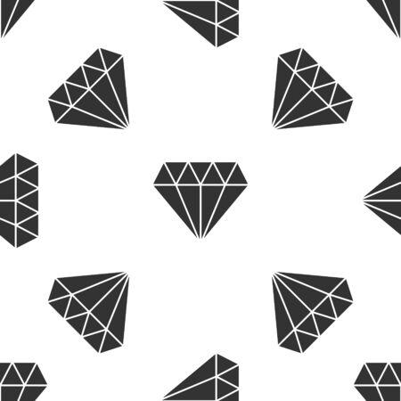 Grey Diamond icon isolated seamless pattern on white background. Jewelry symbol. Gem stone. Vector Illustration