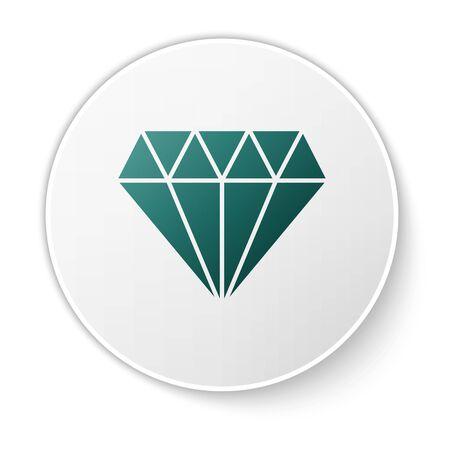 Green Diamond icon isolated on white background. Jewelry symbol. Gem stone. White circle button. Vector Illustration